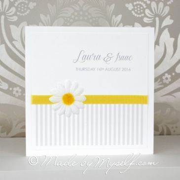Daisy Flower Pocketfold Wedding Invitation